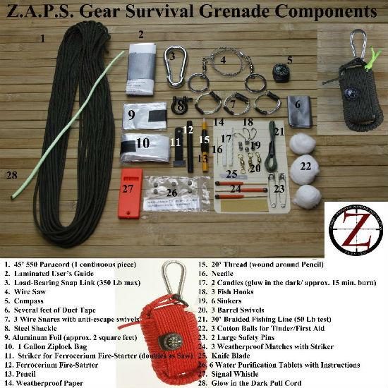 survival grenade contents