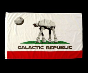 Based on the California flag the Galactic Republic flag is made from durable nylon and measures 5′ x 3′