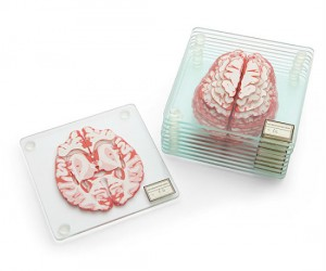 Each coaster has a slice of brain on it!
