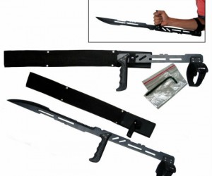 A replica of the weapon used in the video game BloodRayne this Vampire full-tang arm blade sword looks and feels great!