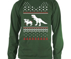 "Nothing quite says ""It's the holidays"" like a T-Rex eating a delicious Moose on your sweater."