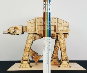 Wooden Star Wars AT-AT Bookends – This AT-AT was captured during the Rebellion and re-purposed to organize your rebel manuals.