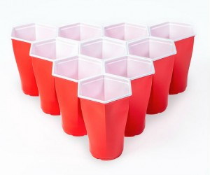 Hexcup Beer Pong Set –  honey bee inspired hexagonal design for perfect, easy racks every time