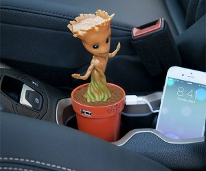 Baby Groot dances while plugged in and turned on – he's sound activated!