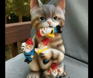 Cat Garden Gnome Massacre Statue