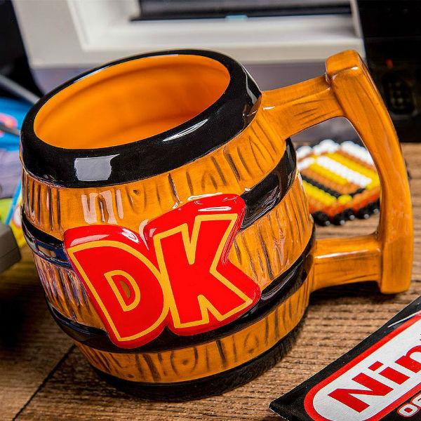nintendo donkey kong barrel shaped mug