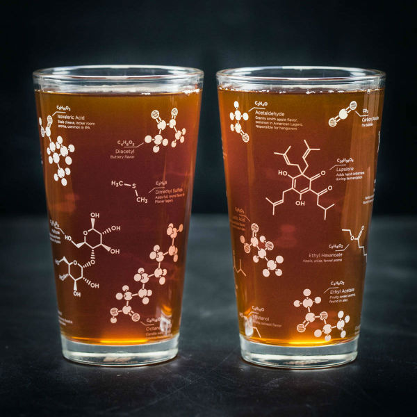 beer chemistry molecule pint glass set