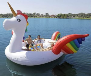 Magically float your way through summer on this majestic oversized pool float!