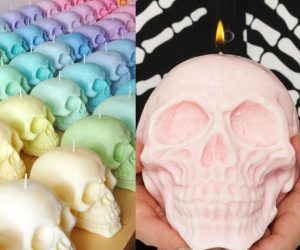 Giant Skull Candles – These pastel colored skull candles are the perfect addition to any Halloween decor. Made with 100% soy wax with natural dyes, hand-poured & will burn for 10-15