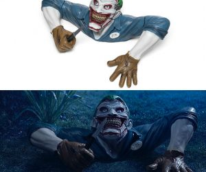 Joker Ground Breaker Halloween Decoration – The Clown Prince of Crime is out to get you! For a really unsettling Halloween decoration, use the Joker Ground Breaker. Batman's arch-nemesis looks extremely
