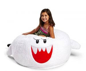 Nintendo Mario Boo Bean Bag Chair – Who knew boo could be so soft and cuddly! – 100% polyester outer, filled with cotton and polyester fiber mix and polystyrene balls