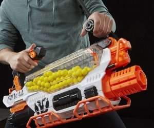 Nerf Rival Prometheus Gun – The Advanced Acceleration System fires up to 8 rounds per second and high-capacity hopper hold 200 rounds