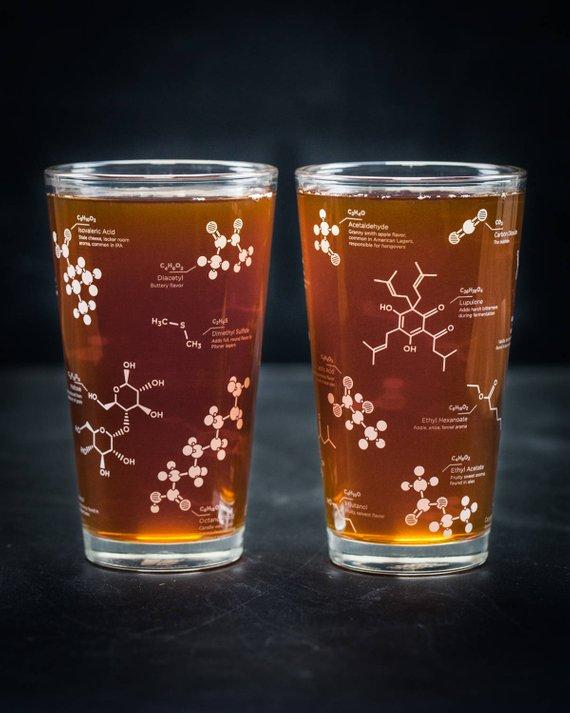 Beer Molecule Pint Glass set