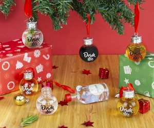 These Festive Boozeballs are a sure way to keep your spirits high. What better way to keep your alcohol nearby over the festive period than by hanging it on your