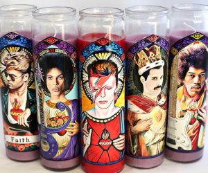 Patron Saints of Rock Prayer Candles – Complete your alter to Rock and Roll with one of these digitally illustrated, parody art prayer candles. Inspired by some of the greatest
