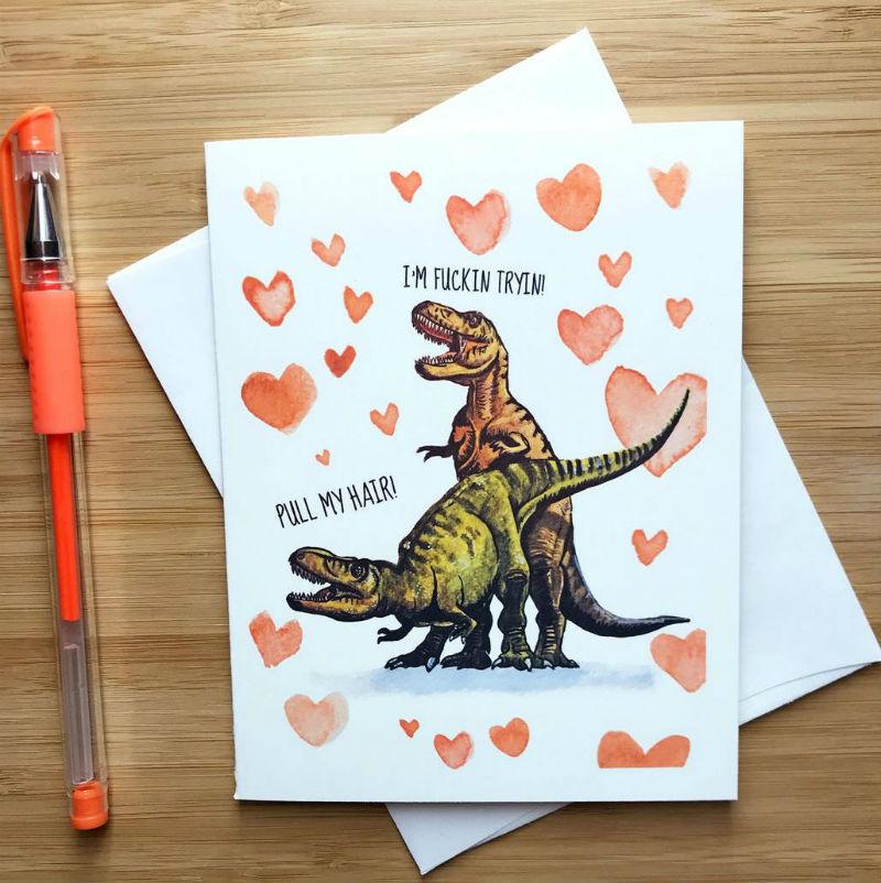 trex card valentines day