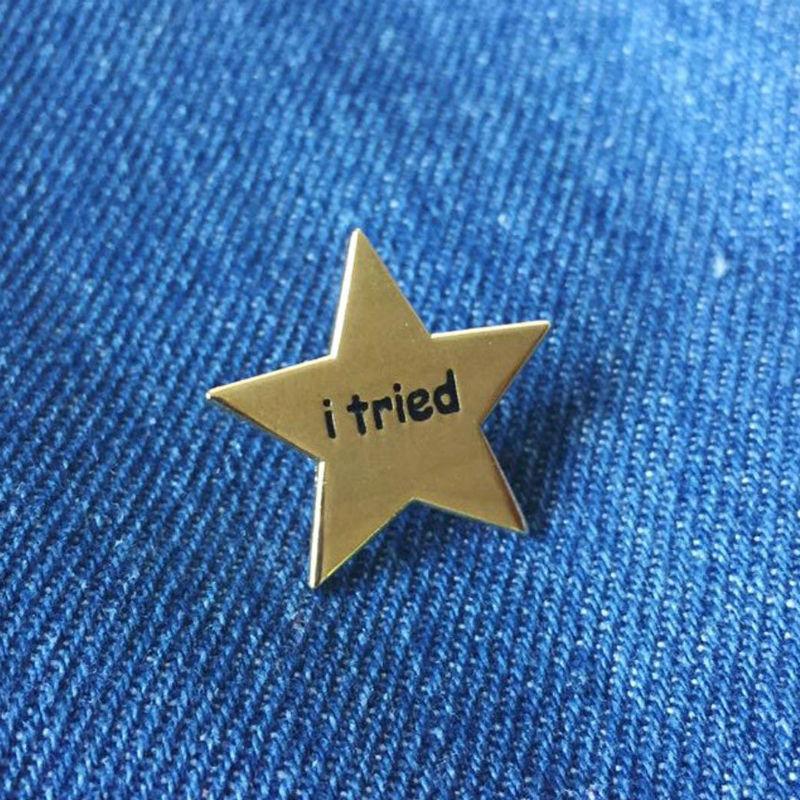 i tried gold star enamel pin