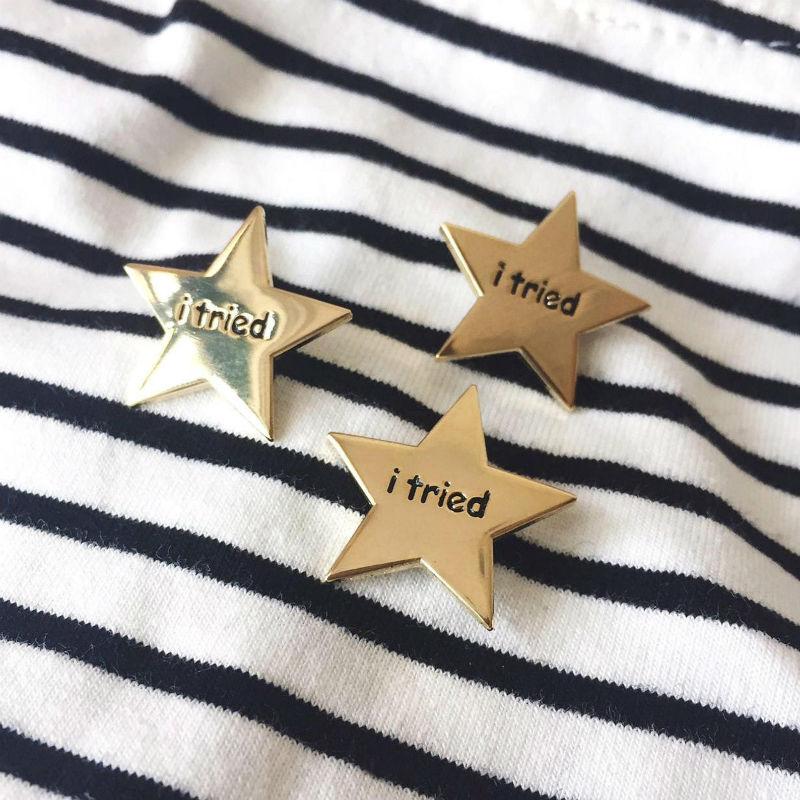 i tried gold star pin