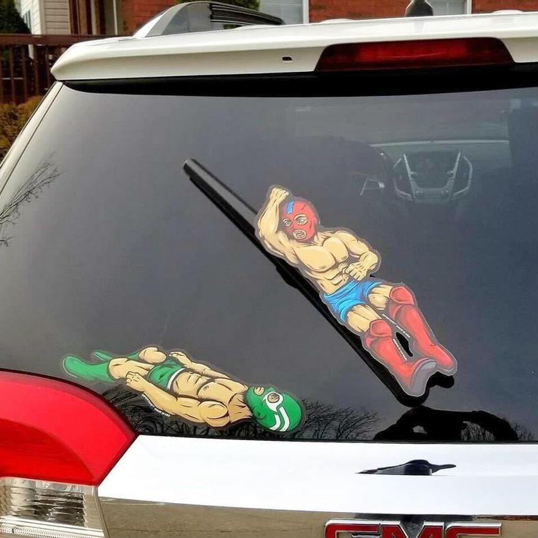 luchador windshield wiper decals