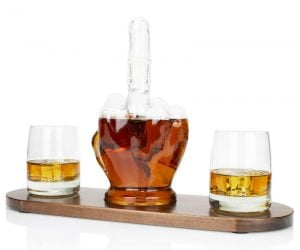 Middle Finger Whiskey Decanter – Not afraid to show your bold side? The Atterstone Middle Finger 5-Piece Decanter Bar Set is for daring premium liquor aficionados. Now, you can enjoy your