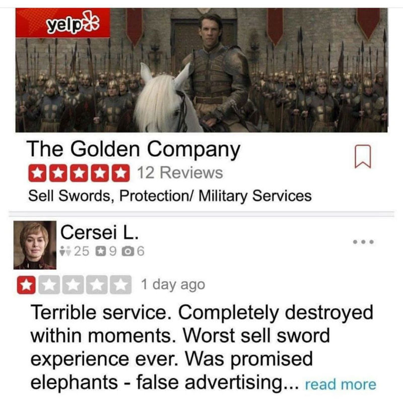 cersei golden company yelp review meme