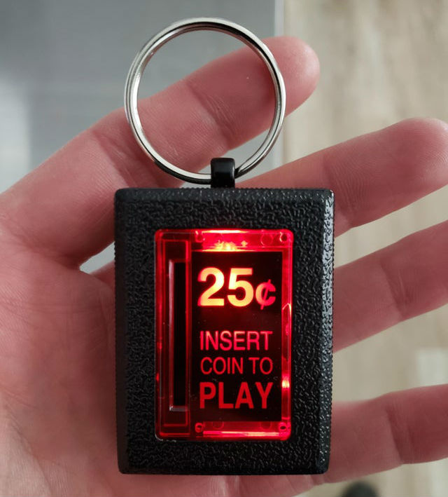 insert coin to play arcade keychain