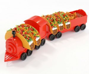 Taco Train Taco Holder –The Ultimate Taco Holder – Holds 5 of your favorite hard or soft shell tacos along with 2 condiments so the mix and match options are