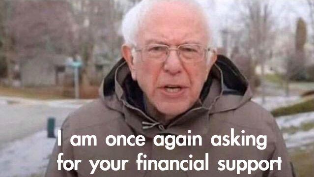 bernie sanders asking for financial support memes