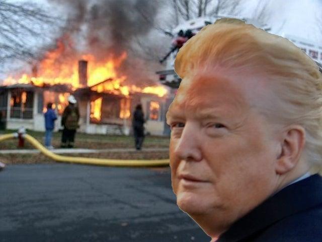 trump orange face fire