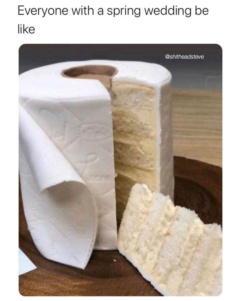everyone with a spring wedding be like toilet paper cake