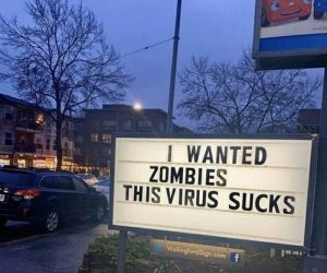 I wanted zombies this virus sucks sign