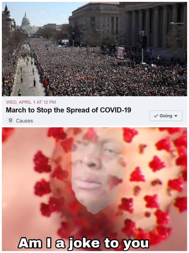 march to stop the spread of covid 19 meme