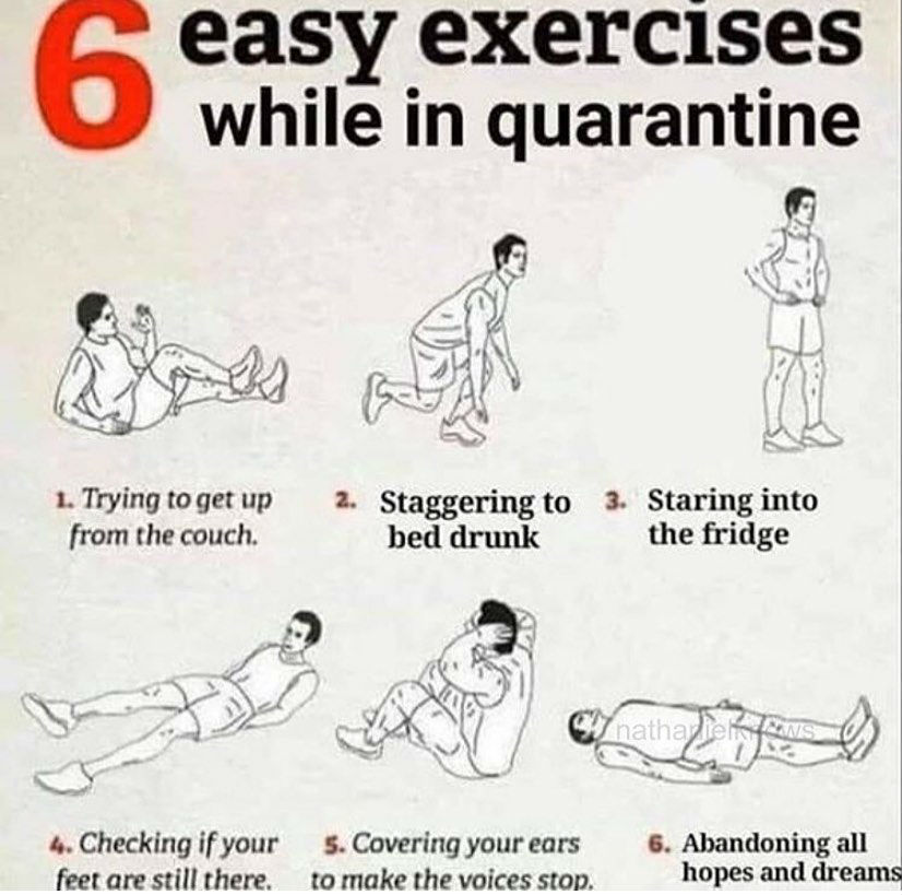 6 easy exercises to do while in quarantine meme
