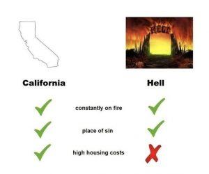 California vs Hell meme