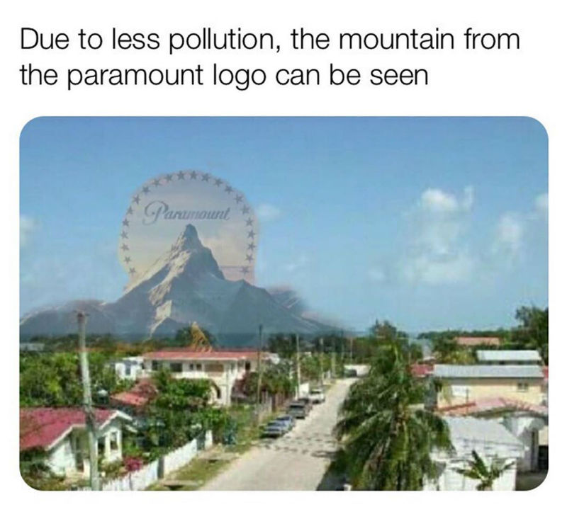 due to less pollution meme