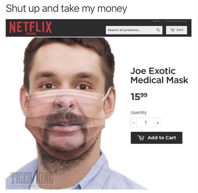 joe exotic tiger king medical mask meme