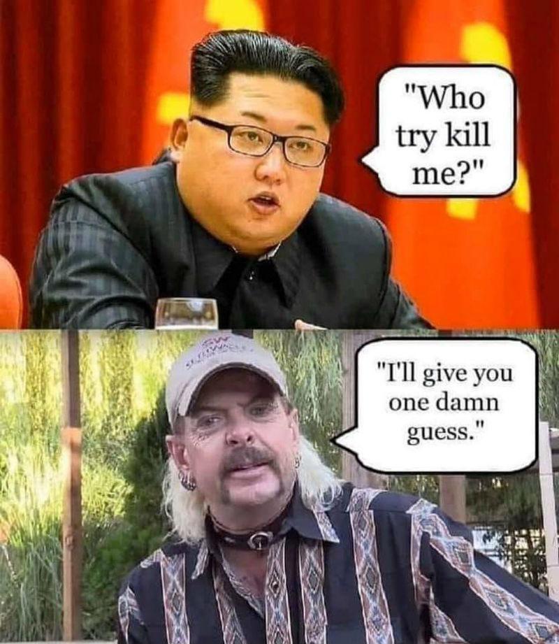 kim jong un joe exotic tiger king meme