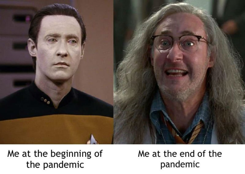 me at the beginning vs the end of the pandemic meme