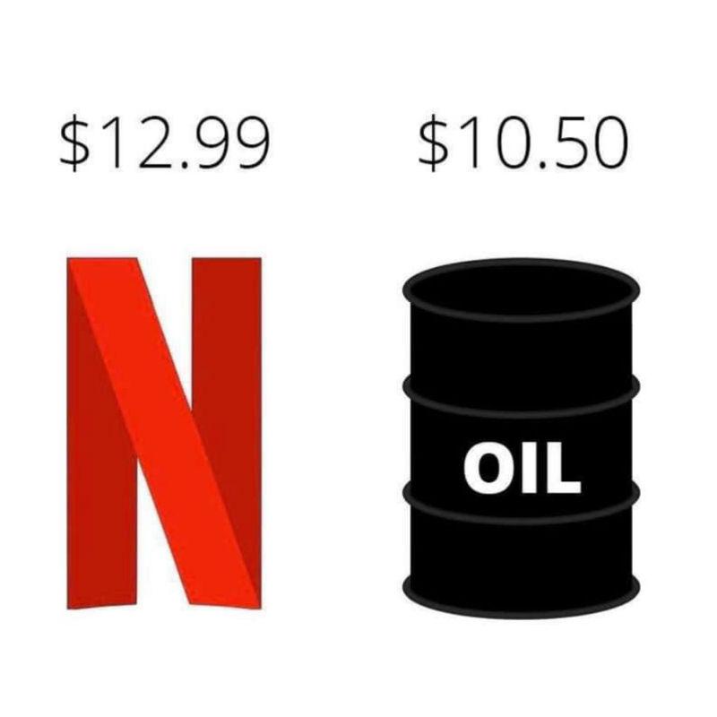 oil is cheaper than netflix