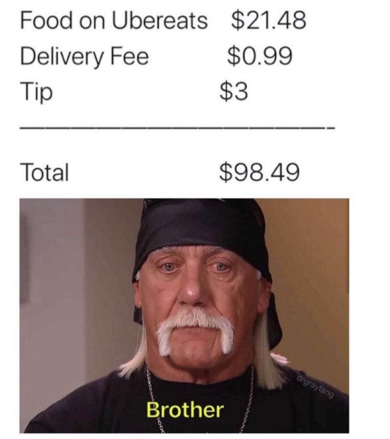 ordering food on ubereats hulk hogan meme