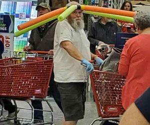 Pool Noodle Hat Guy – This man has revolutionized social distancing – meme