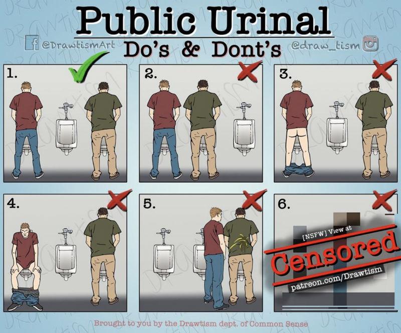 public urinals dos and donts meme