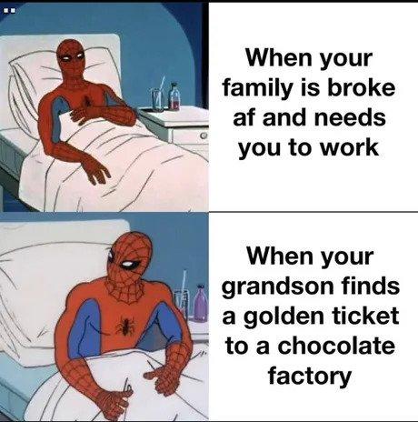 spiderman grandpa joe meme