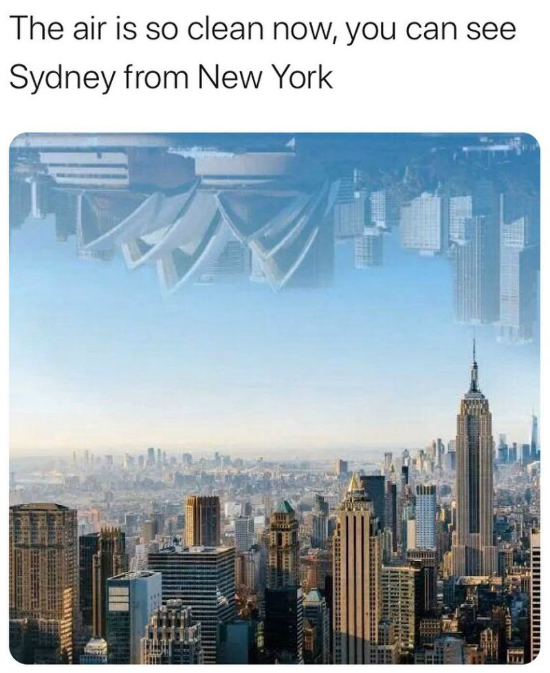 the air is so clean now you can see sydney from new york
