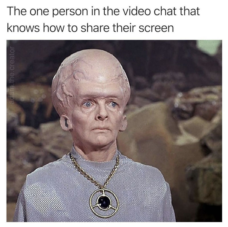 the one person in the video chat