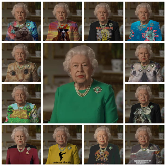the queens outfit was used as a green screen meme