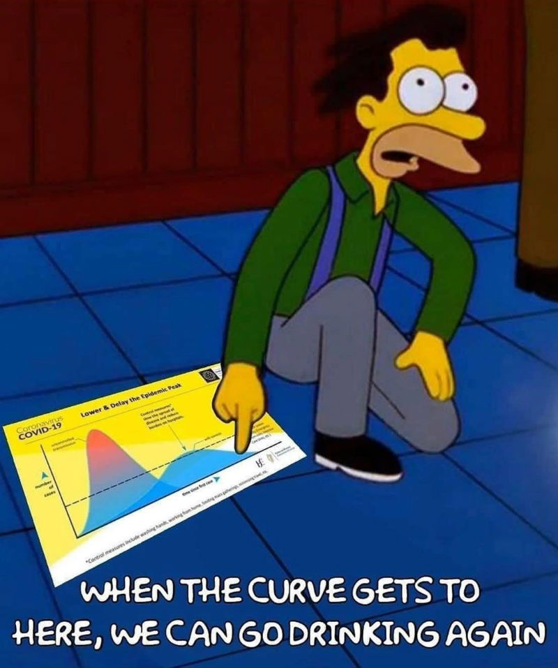 when the curve gets to here we can go drinking again meme