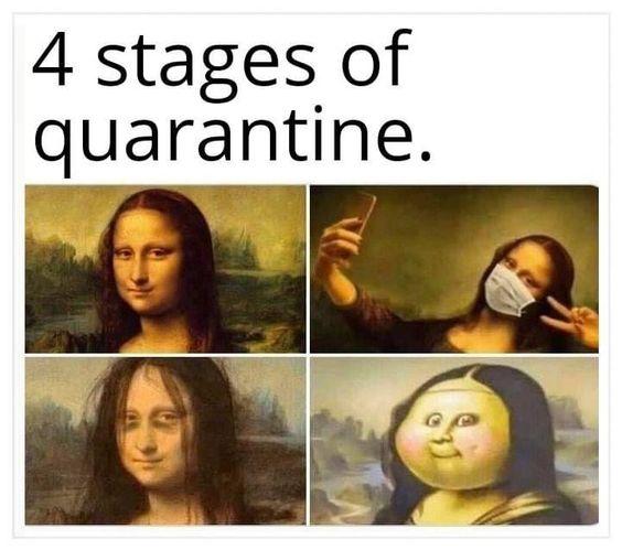 4 stages of quarantine meme