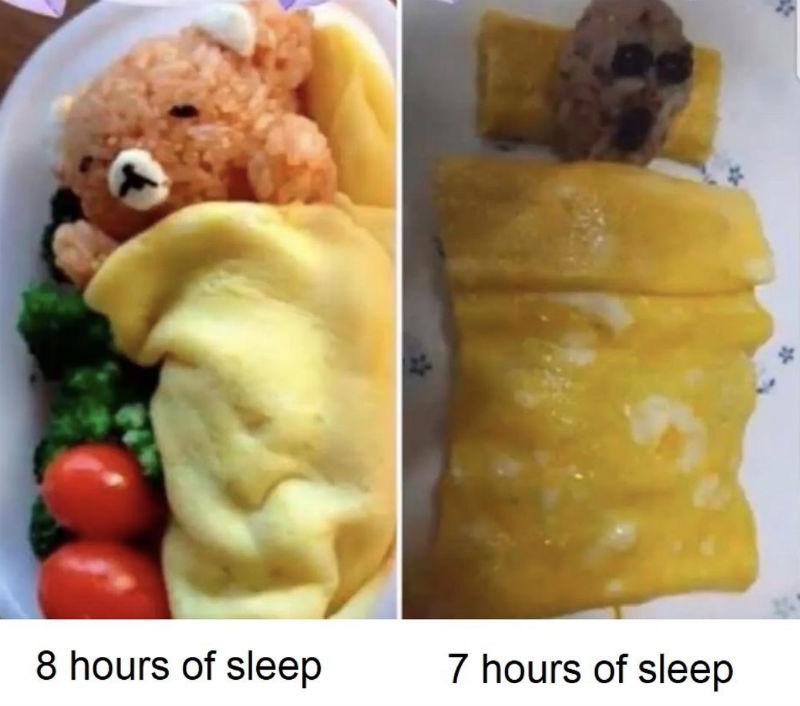 8 hours of sleep vs 7 hours of sleep meme
