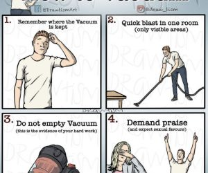 A Man's Guide How To Vacuum – Comic via @draw_tism